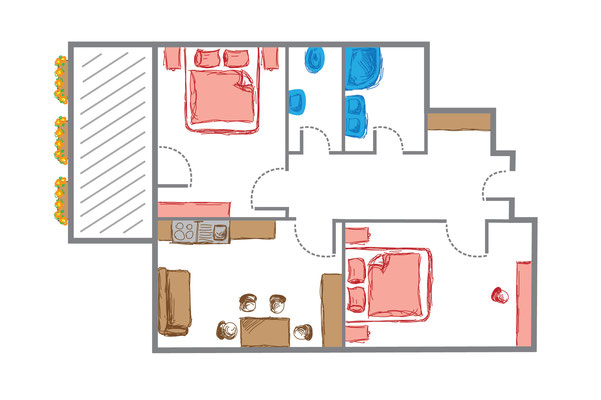 Apartment 1 Skizze
