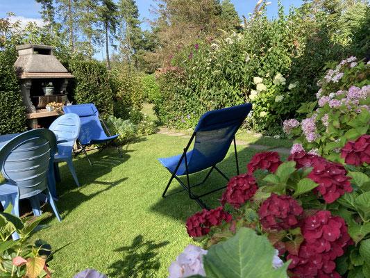 Le jardin privatif en été