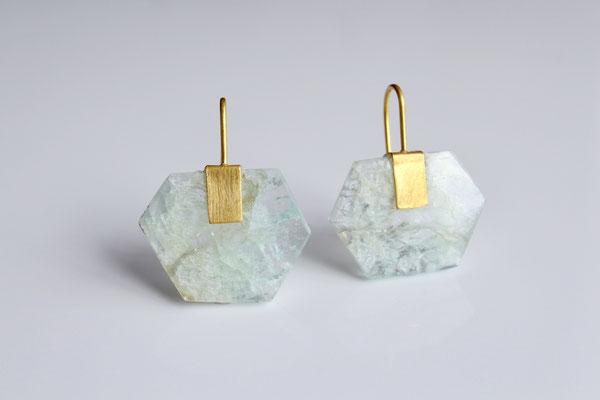 Aquamarin Kristall Ohrringe