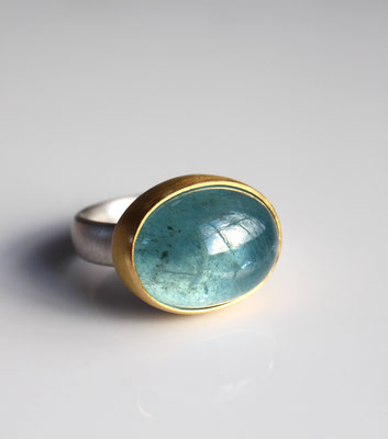 Silber Gold Ring mit Aquamarin