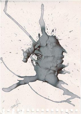 Microorganismo negativo, dibujo con vino y bolígrafo Bic sobre papel. Tamaño: 29,5x21