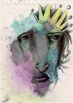 King Badula, dibujo con vino, acuarela y bolígrafo Bic sobre papel. Tamaño: 29,5x21