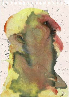 dibujo con vino, acuarela y lápiz de color sobre papel. Tamaño: 29,5x21