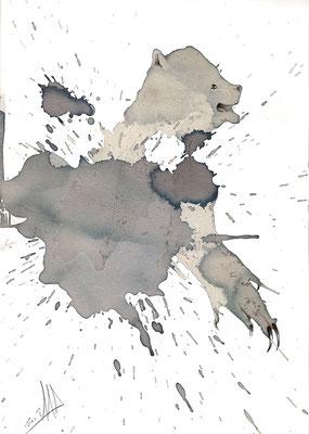 Dirty Bear, dibujo con vino y boli Bic sobre papel. Tamaño: 29,5x21