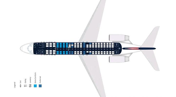 Sitzplan der Boeing 717 bei Delta/Courtesy: Delta Air Lines