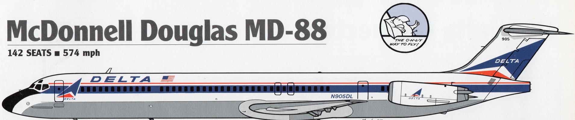 Über viele Jahre eines der Arbeitspferde auf der Kurz- und Mittelstrecke: die MD-88/Grafik: Delta Air LinesMD-88