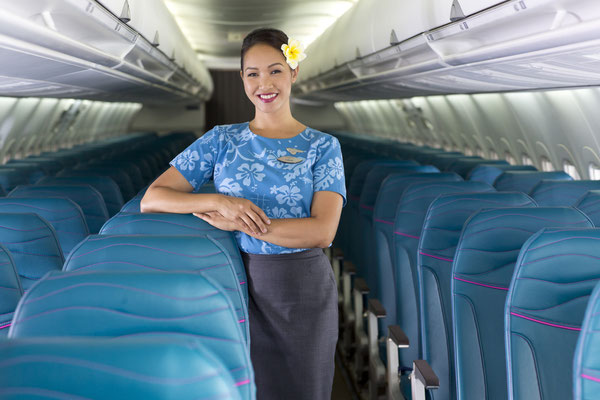 Präsentatoin der Economyclass mit den slimline-Sitzen/Courtesy: Hawaiian Airlines