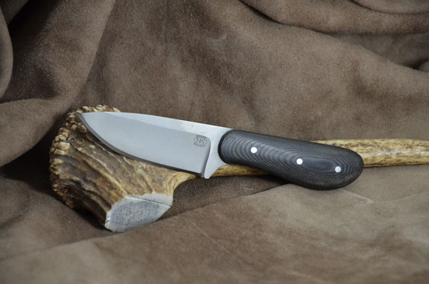 "#175 Large Palm skinner.  Blade length 3 1/8"" Overall 6 3/8"" Made with 440C.  Bead blast finish.  Black linen macarta handle.  Maker Steve Nolen  $150"