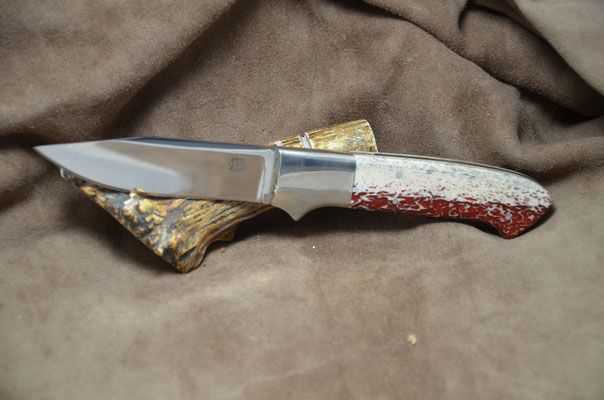 """#230 Clip Point.  Blade length 4 1/8"""" Overall 9"""" Made with 440C.  Red Dyed Osic with nickel silver bolsters.  Maker RD Nolen $275"""