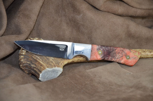"""#181 Utility Knife.  Blade length 3 1/2"""" Overall 8"""" Made with 440C.  Stabilized California buckeye with aluminum bolster handle.  Maker RD Nolen  $250"""