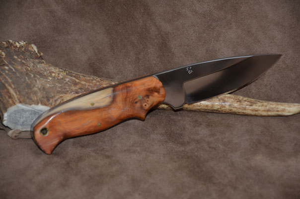 "#73 Full tang drop point.  Blade length 4"" Overall 8"" D2 steel.  Handle Taxur - also called Yew.  (Robin Hood used this wood fo r his bow and arrow)  Maker Steve Nolen"