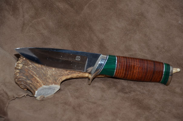 """#80 Blade 4 3/4"""" Overall 9 1/4""""  Handle - leather spacers with malachite.  Nickel silver guard and butt cap  $325"""