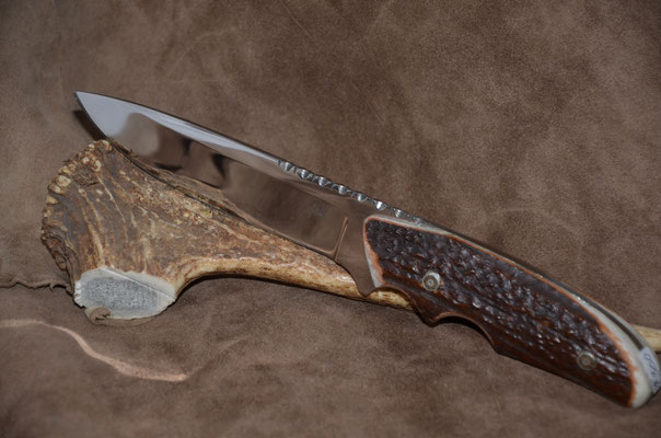 #60 Full tang drop point with two finiger grooves and filework. 440c steel.  Handle axis horn.  Maker RD Nolen  $265