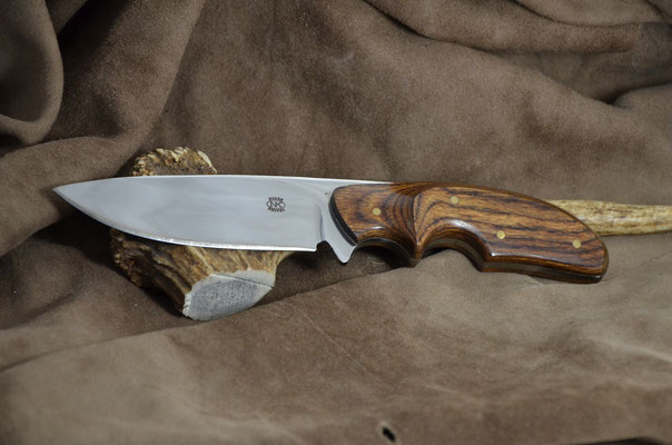 "#171 Rio Grande skinner. Blade length 4 1/4"" Overall 8 3/8"" Made with 440C.  Dymondwood (heritage walnut) handle.  Maker RD Nolen  $275"