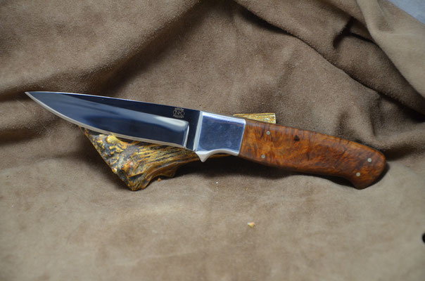 """#225 Full tang utility knife.  Blade length 4 3/8"""" Overall 9 1/4"""". Made with 440C.  Birdseye Maple with aluminum bolster handle.  Maker RD Nolen $275"""