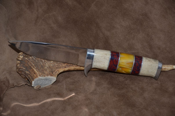 """#112 Blade 4 7/8"""" Overall 9 1/2""""  Drop Point blade 440c steel.  Handle descaled stag horn, red jasper and amber.  Aluminum guard and buttcap.  Maker - RD Nolen  $375"""
