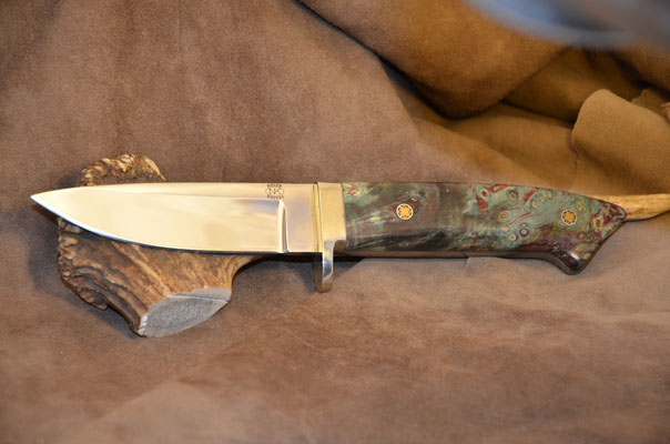 """#160 Classic Drop Point.  Blade length 4 3/8"""" Overall 9 1/4"""" Made with 440C.  Stablized California buckeye with nickel silver guard handle.  Maker RD Nolen  $375"""
