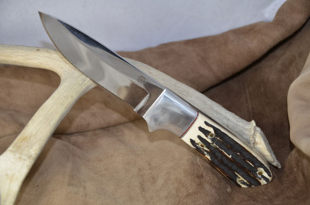 """#59 Full tang drop point.  Blade length 4 5/8"""" Overall 9 3/8"""" 440c steel.  Handle stag bone.  Nickel silver guard.  Maker RD Nolen  $275"""