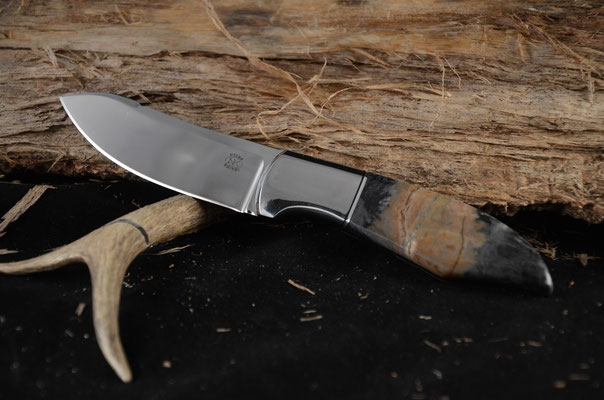 """#94 Green River Skinner.  Blade length 3 3/4"""" Overall 8 1/4"""" Made with 440C.  Stone handle with nickel silver bolster.  Maker RD Nolen"""