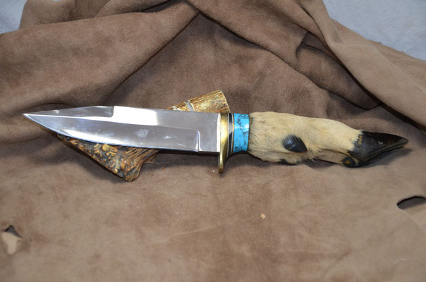 "#237 Double edge clip point.  Blade length 6"" Overall 12"" Made with 440C.  Deerfoot with turquoise spacer with nickel silver guard handle.  Maker RD Nolen $275"