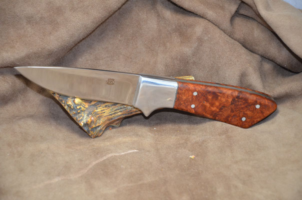 """#224 Full tang drop point.  Blade length 4 1/4"""" Overall 9 1/4"""". Made with 440C.  Birdseye Maple burl with aluminum bolster.  Maker RD Nolen $275"""