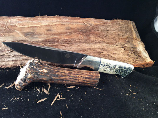 """#129 Full tang utility.  Blade length 5"""" Overall 9 1/2"""".  Made with 440C.  Nickel silver bolsters.  Blue colored osic handle.  Maker RD Nolen  $300"""