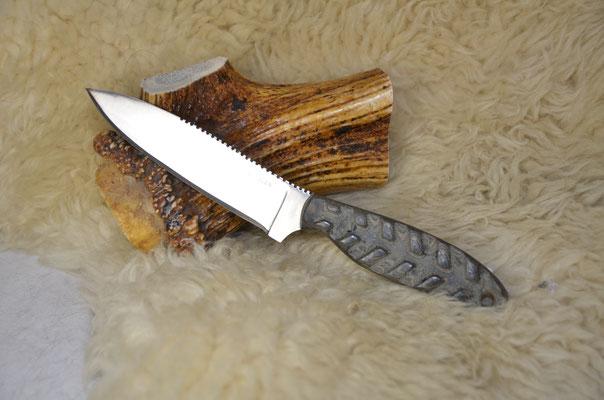 """#51 Sheep foot skinner.  Blade length 4 1/4"""" Overall 8 3/8"""" d2 steel.  Handle textured canvas macarta.  Maker Steve Nolen  $200"""
