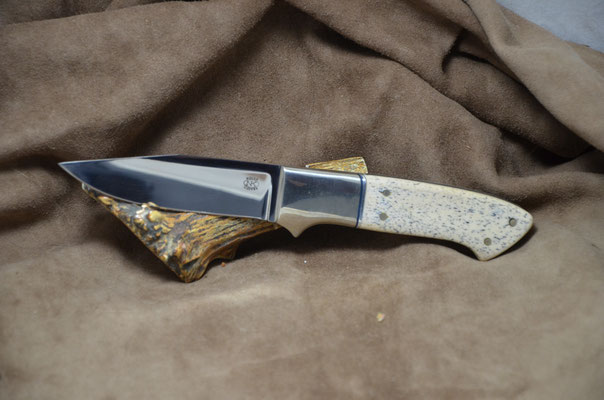 "#229 Clip Point. Blade length 4 1/8"" Overall 9"" Made with 440C.  Blue Dyed Osic with nickel silver bolsters.  Maker RD Nolen $275"