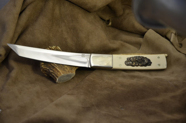 "#164Tanto Blade length 6"" Overall 12"" 440c steel  Ivory handle with nickel silver bolsters.  Maker RD Nolen $475"