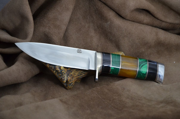 """#190 Narrow tang drop point.  Blade length  4 5/8"""" Overall 8 7/8"""".  Made with 440C.  Black pearl with malachite and amber with aluminum guard and buttcap handle.  Maker RD Nolen  $450"""