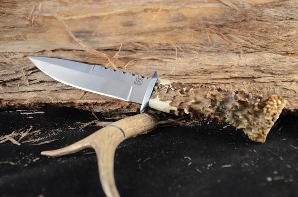 "#121 Skean Dhu blade length 4 3/8"" Overall 8 3/8""  440c steel.  Handle Roe buck with aluminum guard.  Maker RD Nolen  $225"