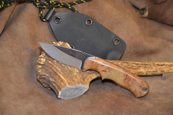 "#170 Neck knife.  Blade length 2 3/7"" Overall 5 3/4"".  Made with 440C.  Satin finish.  Stabilized birdseye maple handle.  Maker Steve Nolen  $250"
