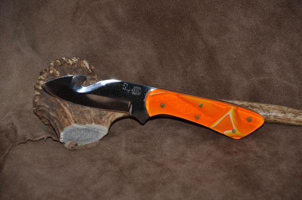 "#79 Full tang gut hook.  Blade length 3 1/2"" Overall 7 1/8""  Handle translusent marbleized polyster.  Maker Steve Nolen  $250"