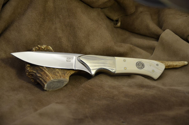 """#162 Full tang utility Blade length 4"""" Overall 9 3/8"""" 440c steel.  Knifemaker guild 25th anniversary knife.  Ivory handle with nickel silver bolster.  Maker RD Nolen  $425"""