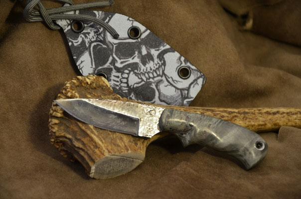 "#169 Neck knife.  Blade length 2 7/8"" Overall 5 3/4"".  Made with 440C.  Hammer finish.  Stabilized birdseye maple handle.  Maker Steve Nolen $125"