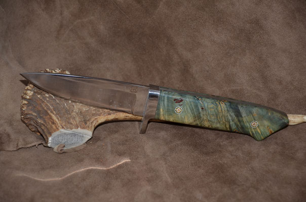 """#147  Classic drop point.  Blade length 4 3/8"""" Overall 9 1/4""""  440c steel.  Handle stabilized green maple burl.  Nickle silver guard.  Maker RD Nolen  $375"""