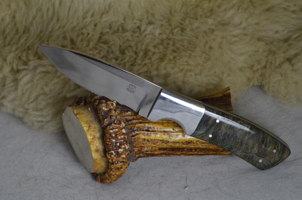 "#27 Utility Knife.  Blade length 3 7/8"" Overall 8 3/8"" 440c steel.  Handle stabilized green birdseye maple.  Aluminum bolsters.  Maker RD Nolen  $275 SOLD"