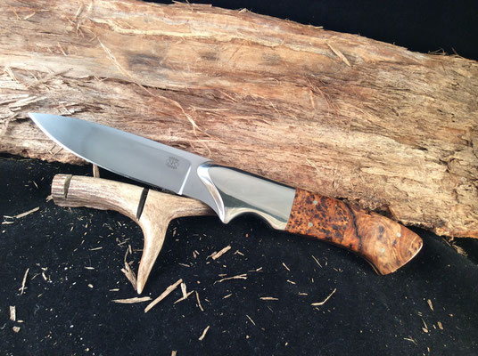 """#130 Full tang utility.  Blade length 4""""  Overall 9 1/4"""".  Made with 440c.  Nickel silve bolster.  Stabilized birdseye maple burl handle.  Maker RD Nolen  $300"""