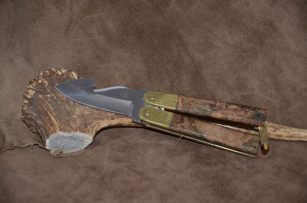 "#78 Butterfly gut hook.  Blade length 2 3/4"" Overall 6 7/8""  Handle stabilized maple burl.  Maker RD Nolen -- SOLD"