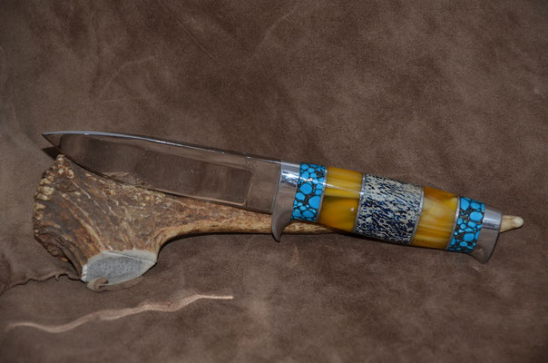 """#109  Drop Point Blade.  Blade length 4 3/4""""  Overall 9 1/4""""  440c steel.  Handle turquoise - amber - osic.  Aluminum guard and buttcap.  Maker RD Nolen  $375"""
