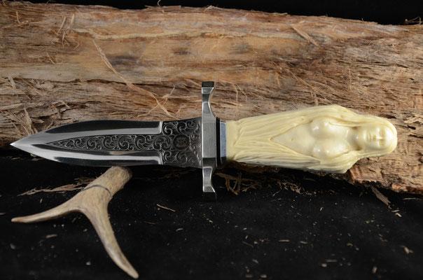"#89  Roman dagger.  Blade length 5"" Overall 10"" 440c steel.  Handle Ivory replacement.  Nickel silver guard.  Maker RD Nolen  $1600"