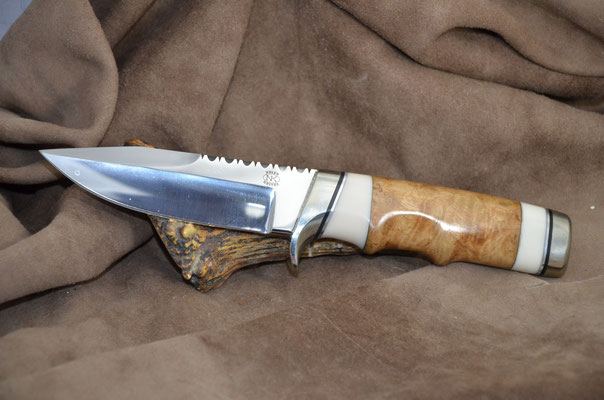 """#195 Narrow tang double edged clip point.  Blade length 4 1/2"""" Overall 9 1/4"""" Made with 440C.  Spalted maple with white corrion with nickel silver guard and buttcap handle.  Maker RD Nolen $375"""