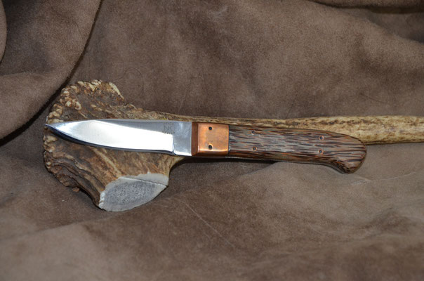 """#176 Nolen caper.  Blade length 3"""" Overall 6 3/4"""" Made with D2.  Red Palm with copper bolster handle.  Maker Steve Nolen  $200"""