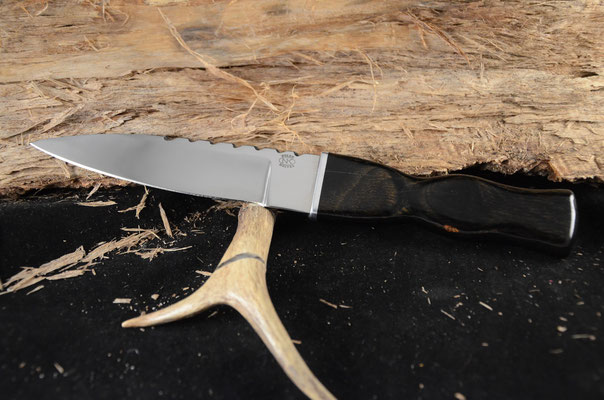 "#127 Dagger.  Blade lenth 5 3/8"" Overall 9 7/8"" 440c steel.  Hfandle ebony macarta.  Maker Steve Nolen  $200"