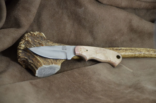 """#172 Miniature drop point.  Blade length 2 3/4 Overall 5 3/4"""" Made with D2.  Stabilized white ash handle.  Maker Steve Nolen $125"""