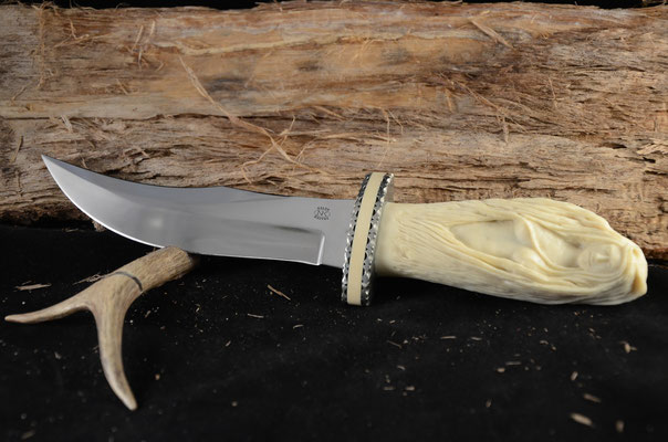 "#90 Double Edge Fantasy knife.  Blade length 6 1/4"" Overall 11 3/8"" 440c steel.  Handle Ivory replacementf.  Nickel silver guard with Ivory replacement spacer.  Maker RD Nolen  $1500"