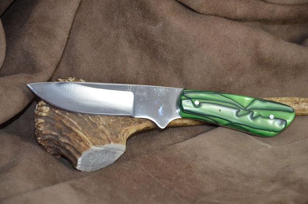 "#178 Small rio grande skinner.  Blade length 3 1/2"" Overall 8"" Made with D2.  Kirinite (green haze) handle.  Maker Steve Nolen $200"