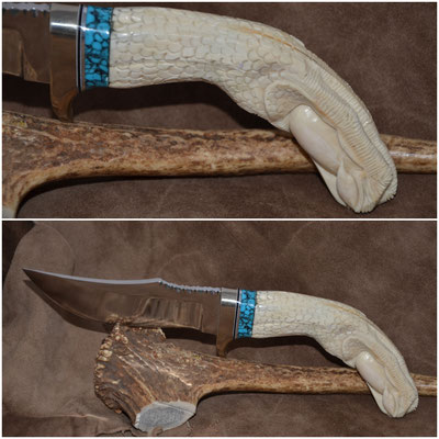 """#150 Nolen Hunter with file work.  Blade length 4 3/4""""  Overall 10"""" 440c steel.  Handle carved eagle claw with egg - Wart Hog Tusk with turquoise spacer.  Nickle silver guard $475"""