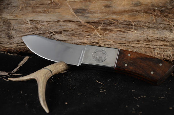 """#95 Green River Skinner.  Blade length 4"""" Overall 9""""  Made with 440C.  Cocobolo handle with nickel silver bolsters with inlayed buffalo nickel on one side and Indian on opposite side.  Maker RD Nolen  $400"""