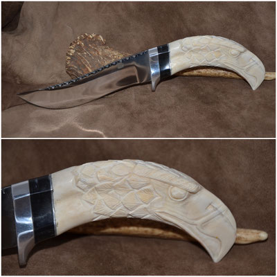 """#151 - Rio Grand Hunter with file work.  Blade length 6""""  Overall 11"""" 440c steel.  Handle carved eagle head - Wart Hog Tusk with water buffalo horn spacer.  Nickle silver guard $475"""